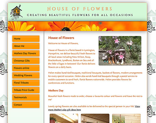 Website Design Lymington - Helens House of Flowers